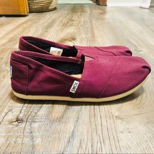 Cranberry Canvas Toms
